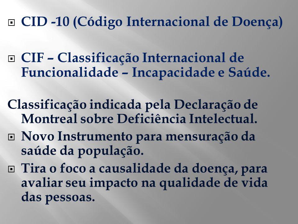 CID -10 (Código Internacional de Doença) CIF – Classificação Internacional de Funcionalidade – Incapacidade e Saúde. Classificação indicada pela Decla