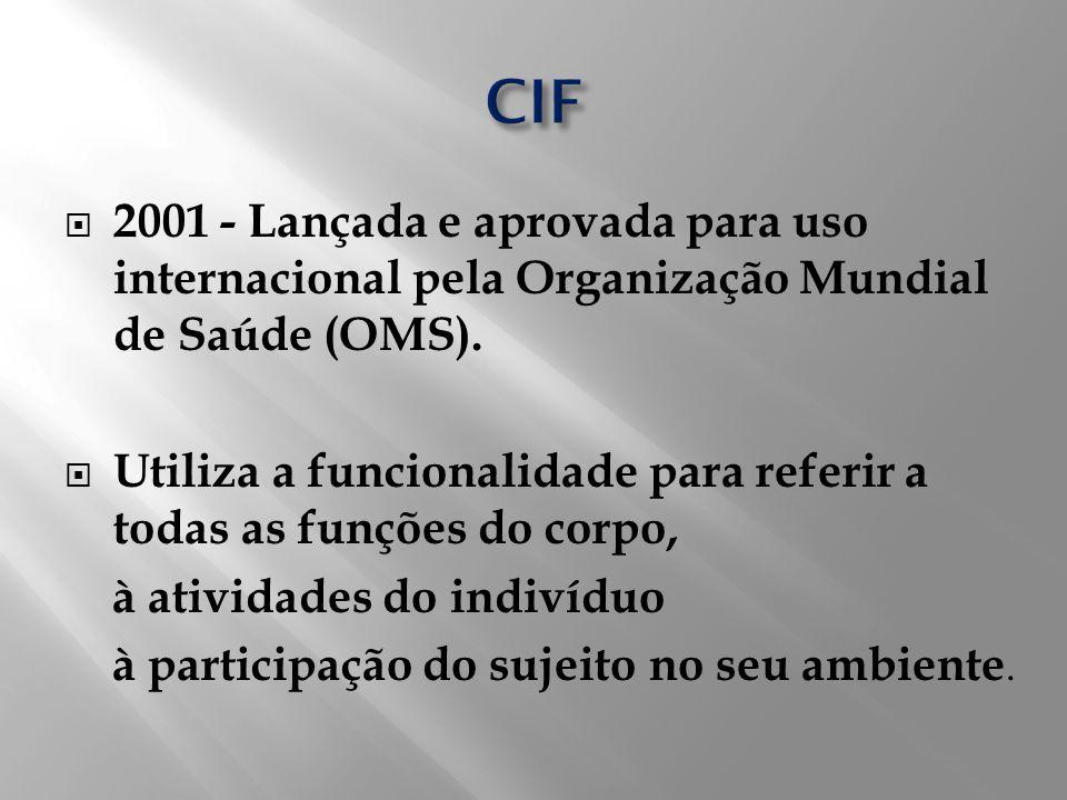 2001 - Lançada e aprovada para uso internacional pela Organização Mundial de Saúde (OMS). Utiliza a funcionalidade para referir a todas as funções do