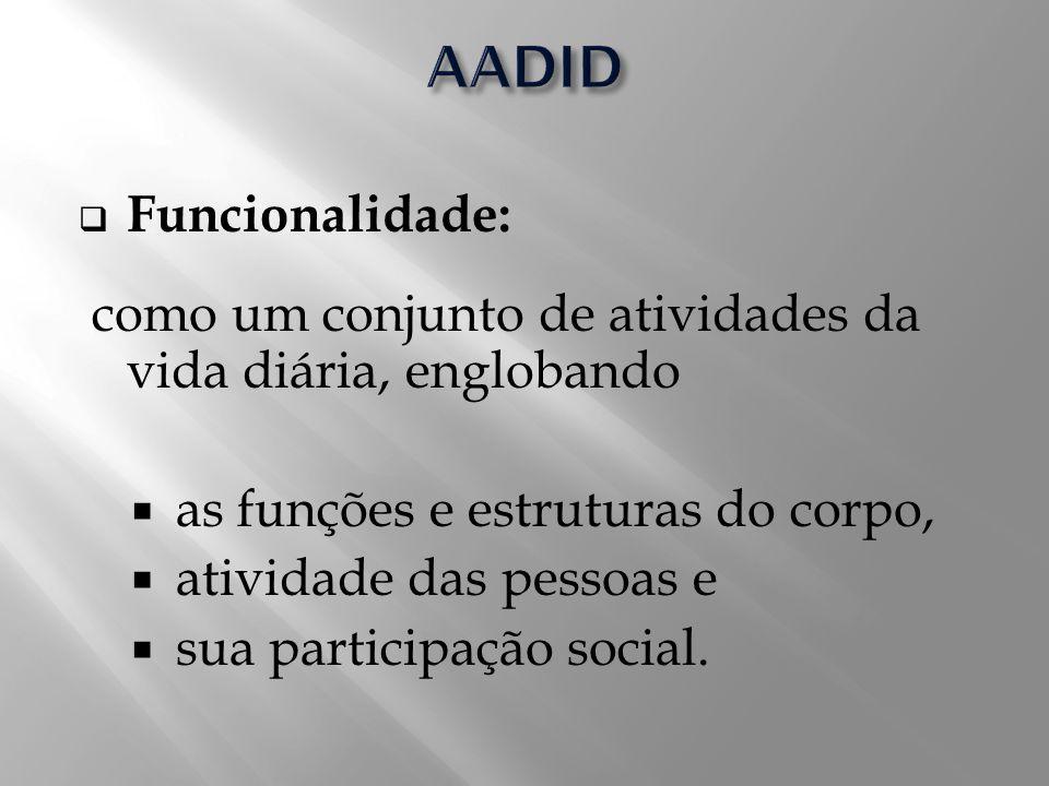 Funcionalidade: como um conjunto de atividades da vida diária, englobando as funções e estruturas do corpo, atividade das pessoas e sua participação s