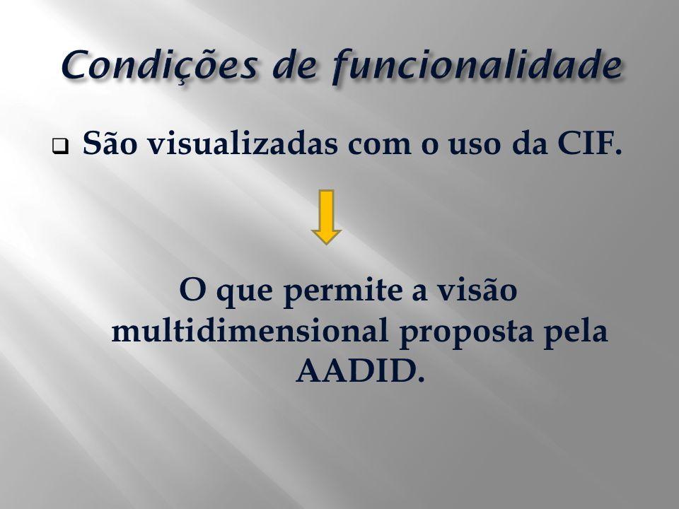 São visualizadas com o uso da CIF. O que permite a visão multidimensional proposta pela AADID.