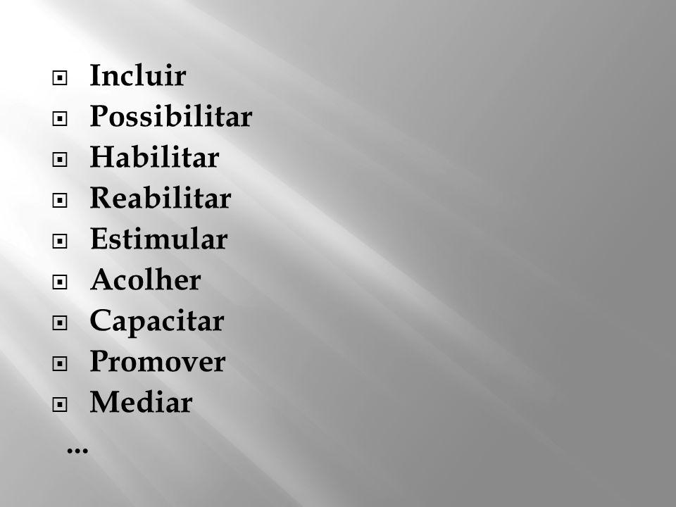 Incluir Possibilitar Habilitar Reabilitar Estimular Acolher Capacitar Promover Mediar...