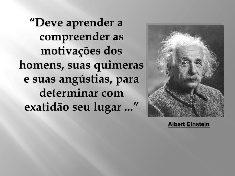 Deve aprender a compreender as motivações dos homens, suas quimeras e suas angústias, para determinar com exatidão seu lugar... Albert Einstein