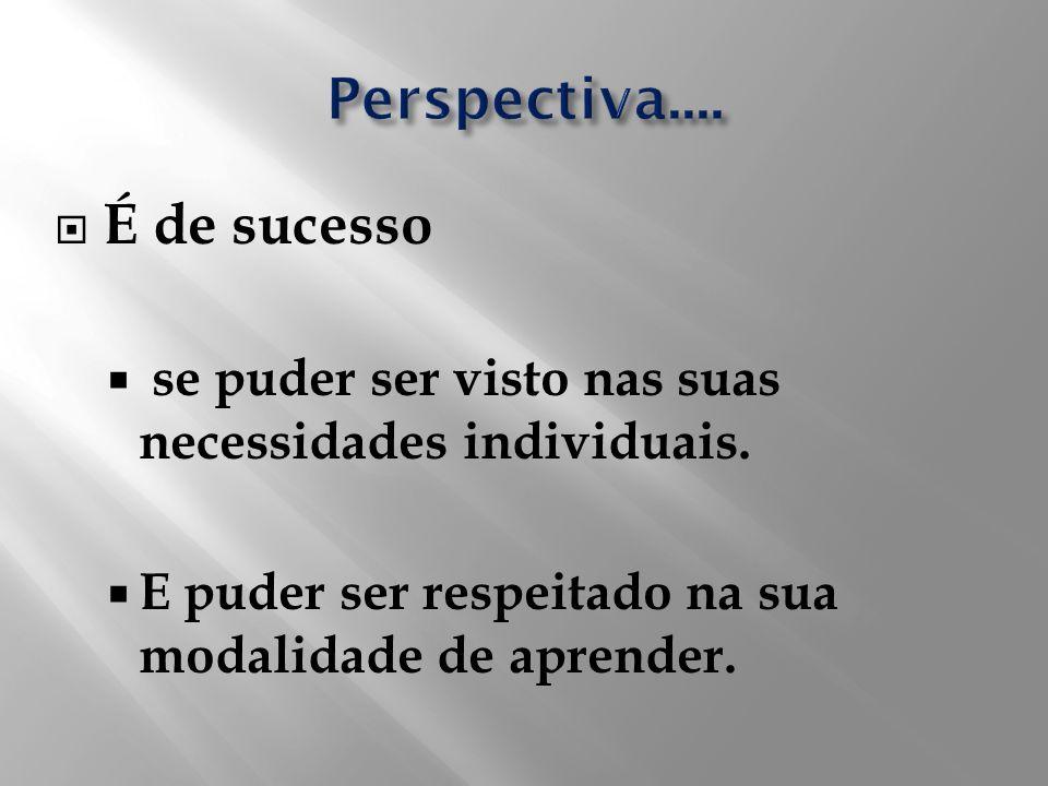 É de sucesso se puder ser visto nas suas necessidades individuais. E puder ser respeitado na sua modalidade de aprender.