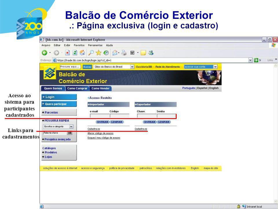 .: Página exclusiva (login e cadastro) Acesso ao sistema para participantes cadastrados Links para cadastramentos Balcão de Comércio Exterior