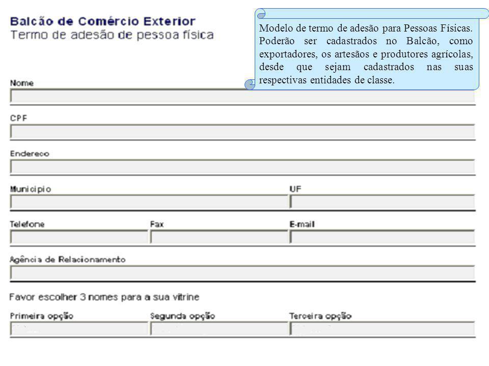 Modelo de termo de adesão para Pessoas Físicas.