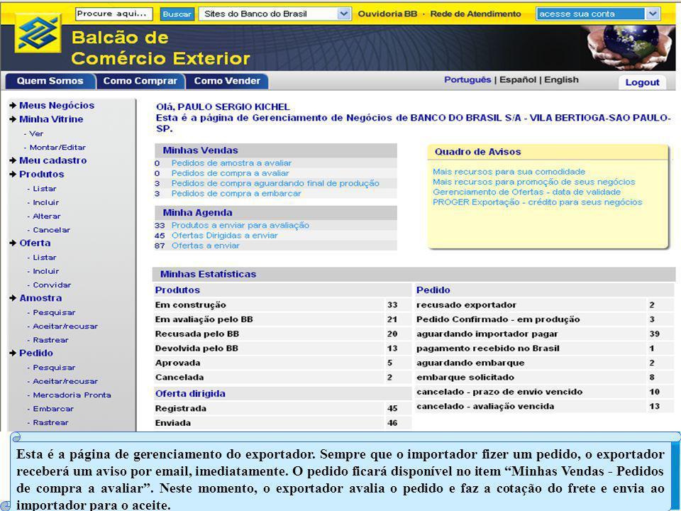Esta é a página de gerenciamento do exportador.