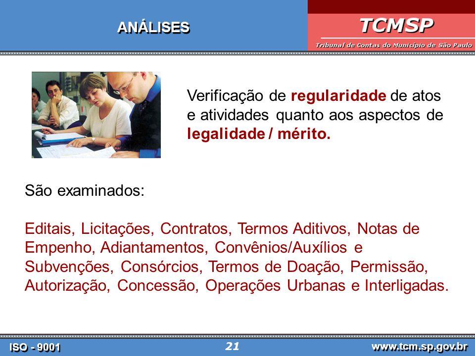 ISO - 9001 www.tcm.sp.gov.br 21 ANÁLISES Verificação de regularidade de atos e atividades quanto aos aspectos de legalidade / mérito.