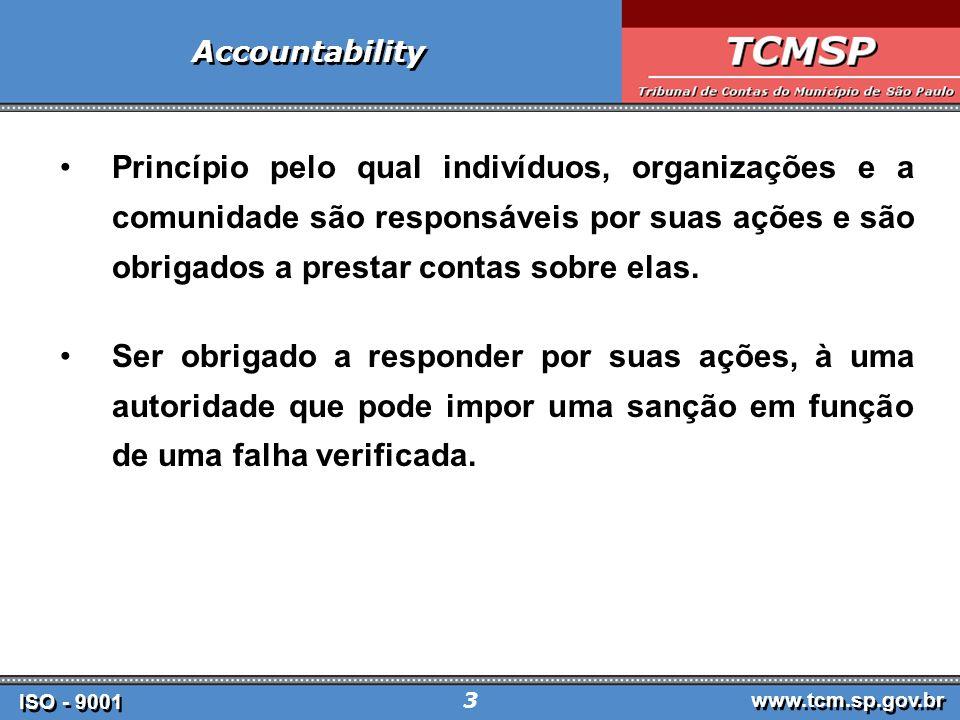 ISO - 9001 www.tcm.sp.gov.br 4 Accountability Prestação de contas a uma autoridade, sobre o desempenho de suas funções; tanto em relação aos gastos realizados como quanto aos resultados atingidos.
