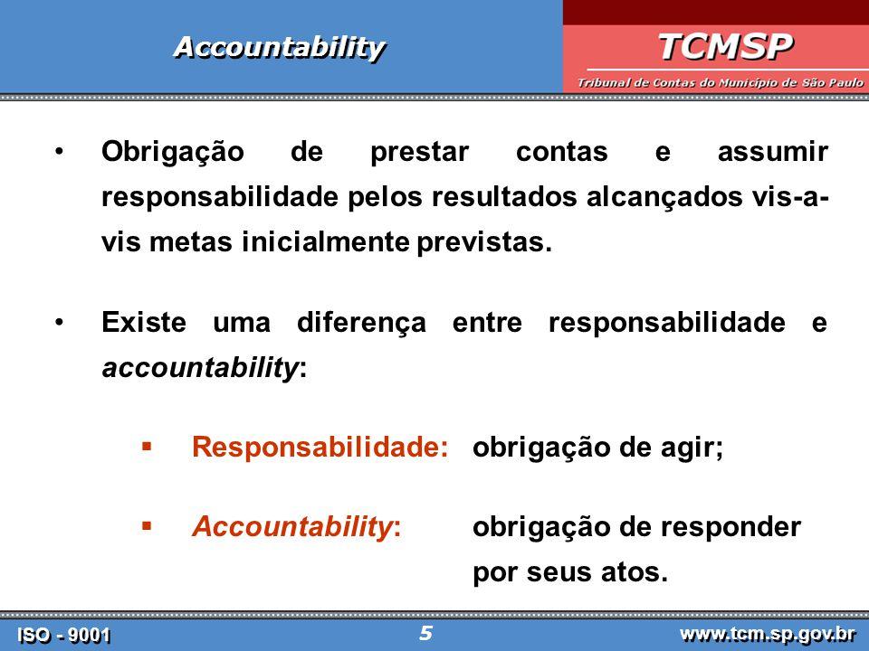 ISO - 9001 www.tcm.sp.gov.br 26 ISO - 9001 www.tcm.sp.gov.br 26 CERTIFICAÇÃO ISO 9001 1º Órgão Público Brasileiro a obter a Certificação ISO 9001 Tribunal de Contas do Município de São Paulo