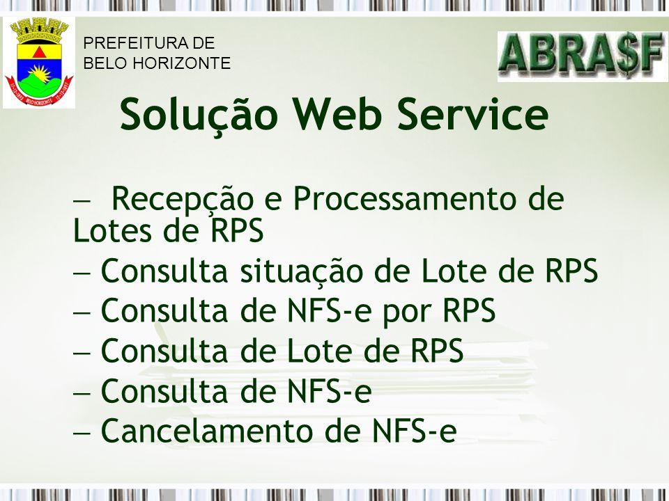 Solução Web Service Recepção e Processamento de Lotes de RPS Consulta situação de Lote de RPS Consulta de NFS-e por RPS Consulta de Lote de RPS Consul