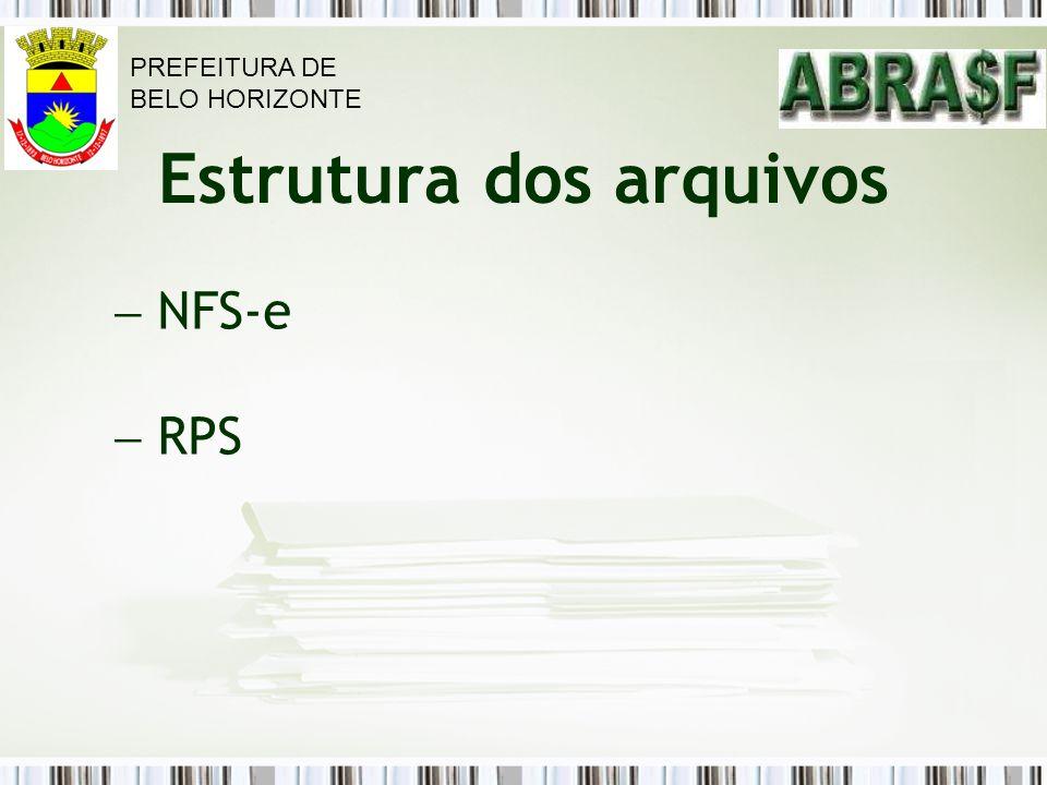 Estrutura dos arquivos NFS-e RPS PREFEITURA DE BELO HORIZONTE