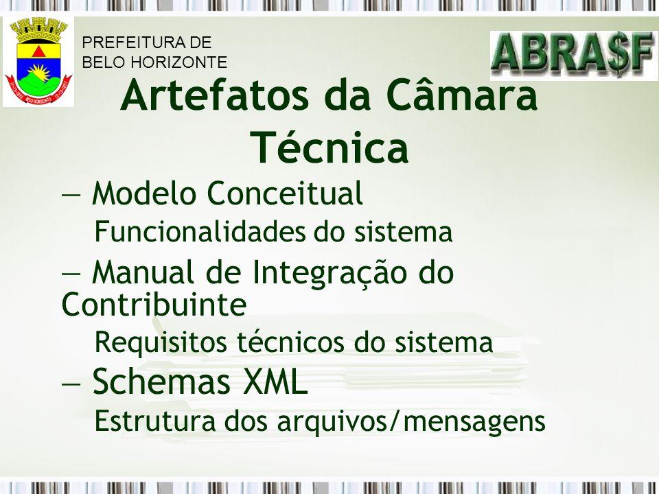 Artefatos da Câmara Técnica Modelo Conceitual Funcionalidades do sistema Manual de Integração do Contribuinte Requisitos técnicos do sistema Schemas X