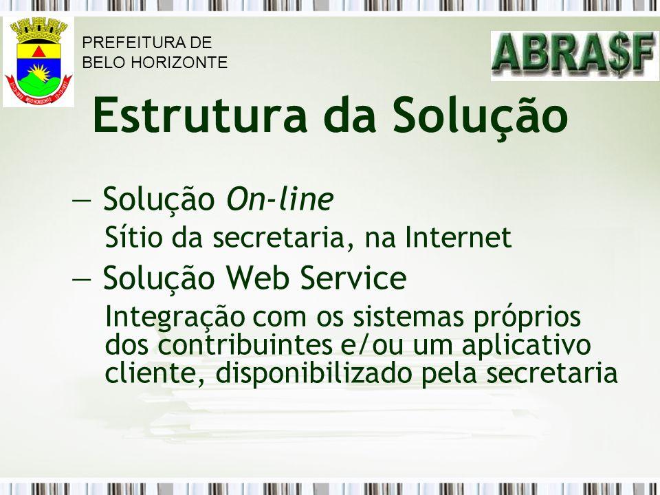 Estrutura da Solução Solução On-line Sítio da secretaria, na Internet Solução Web Service Integração com os sistemas próprios dos contribuintes e/ou u