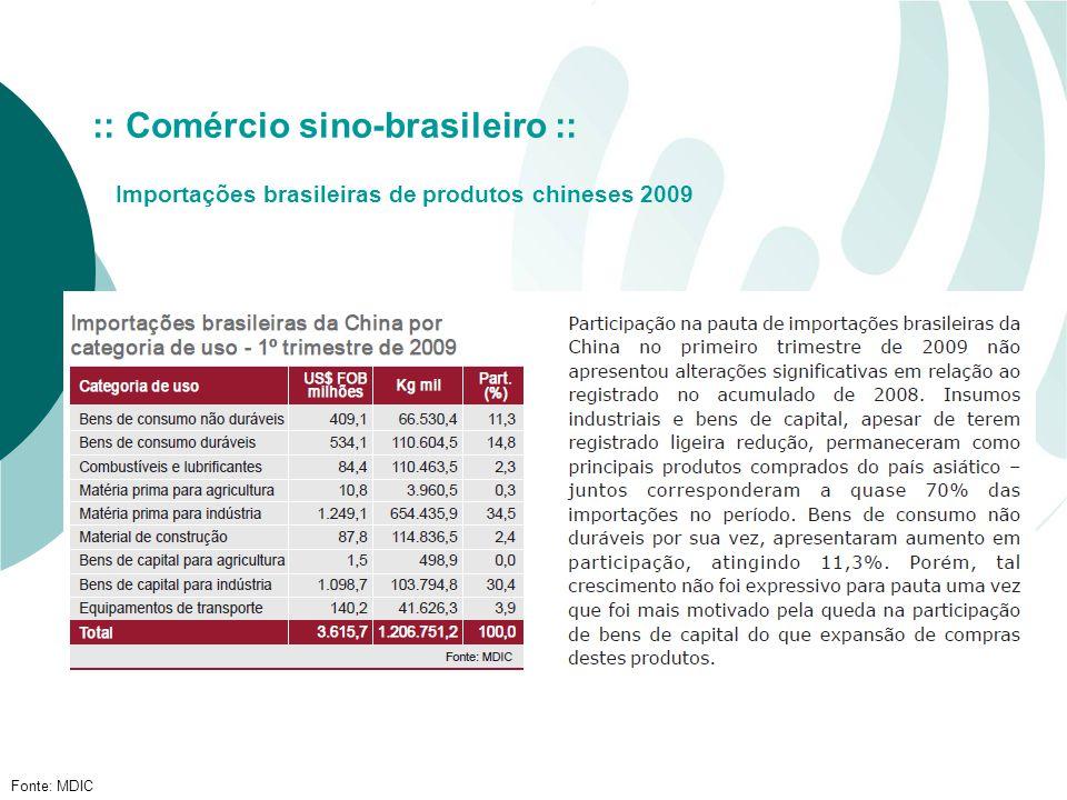 Fonte: MDIC :: Comércio sino-brasileiro :: Importações brasileiras de produtos chineses 2009