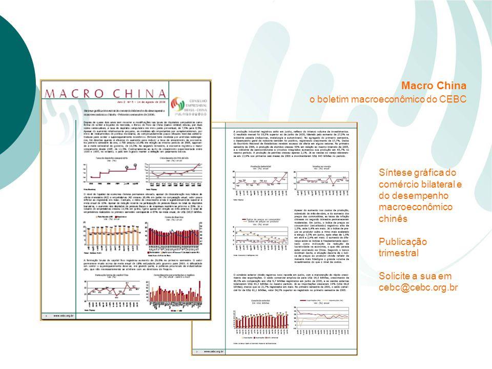 Síntese gráfica do comércio bilateral e do desempenho macroeconômico chinês Publicação trimestral Solicite a sua em cebc@cebc.org.br Macro China o boletim macroeconômico do CEBC