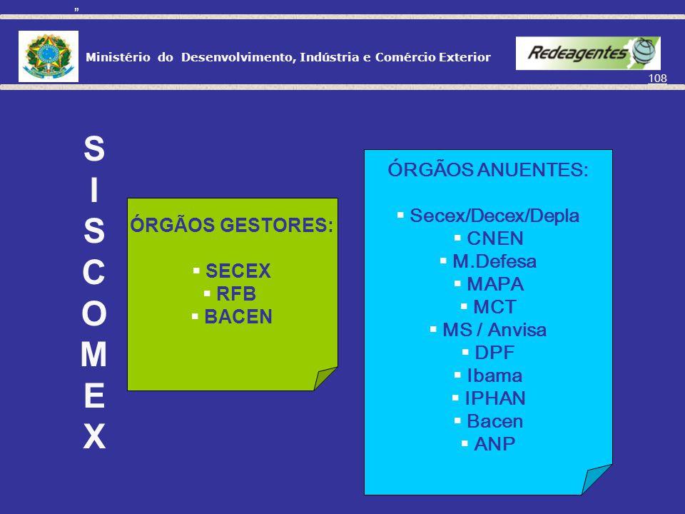 Ministério do Desenvolvimento, Indústria e Comércio Exterior 107 SISCOMEX Sistema integrado de Comércio exterior INFORMAÇÕES ELETRÔNICAS QUE INTEGRAM