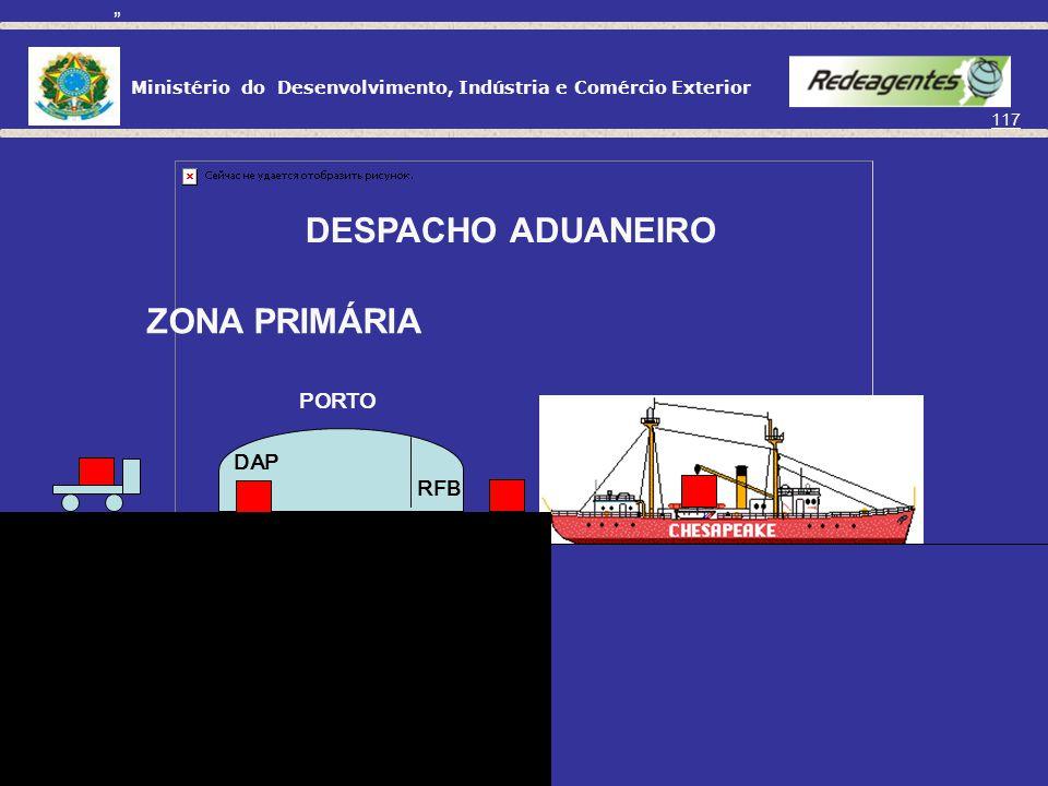 Ministério do Desenvolvimento, Indústria e Comércio Exterior 116 Registro da DE Informa presença da carga Recepção de documentos Seleção parametrizada