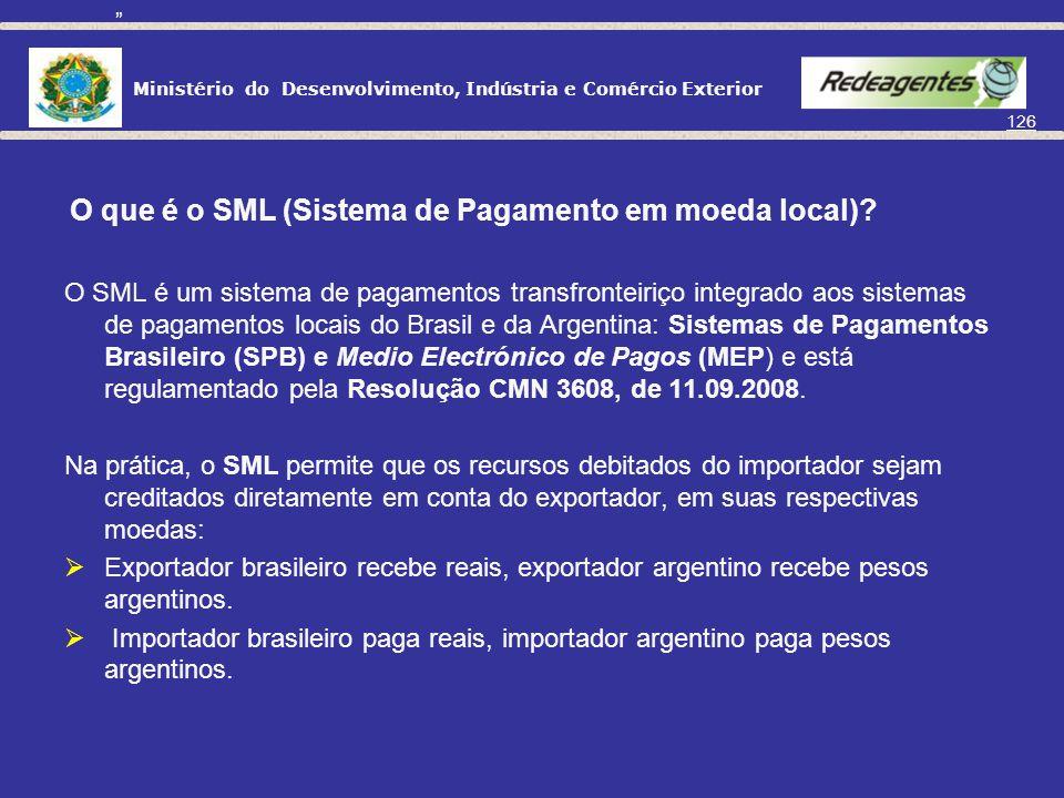 Ministério do Desenvolvimento, Indústria e Comércio Exterior 125 PAGAMENTOS EM REAIS – BRASIL/ARGENTINA Desde 2005, o mercado de câmbio brasileiro vem