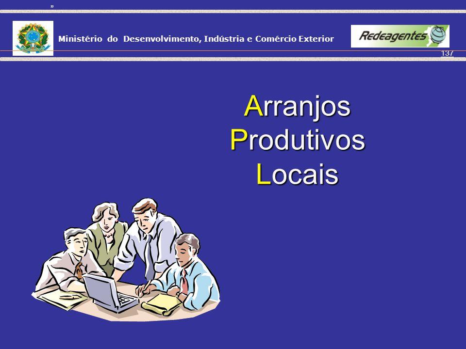 Ministério do Desenvolvimento, Indústria e Comércio Exterior 136 Vantagens da Associação Competitividade frente aos concorrentes do mercado nacional;
