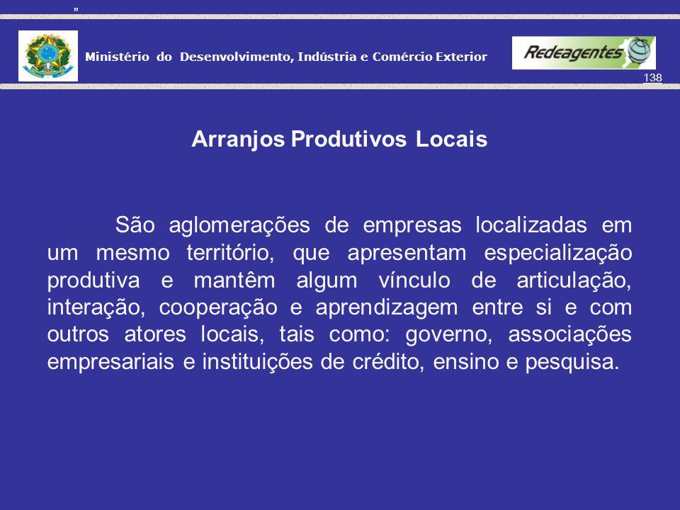 Ministério do Desenvolvimento, Indústria e Comércio Exterior 137 Arranjos Produtivos Locais