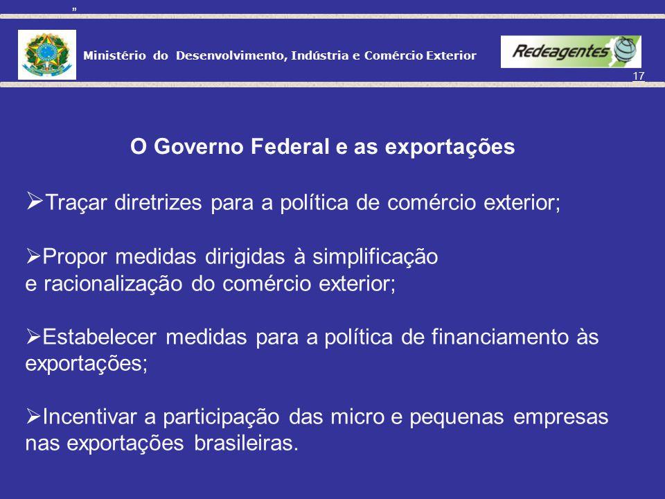 Ministério do Desenvolvimento, Indústria e Comércio Exterior 16 O GOVERNO E AS EXPORTAÇÕES