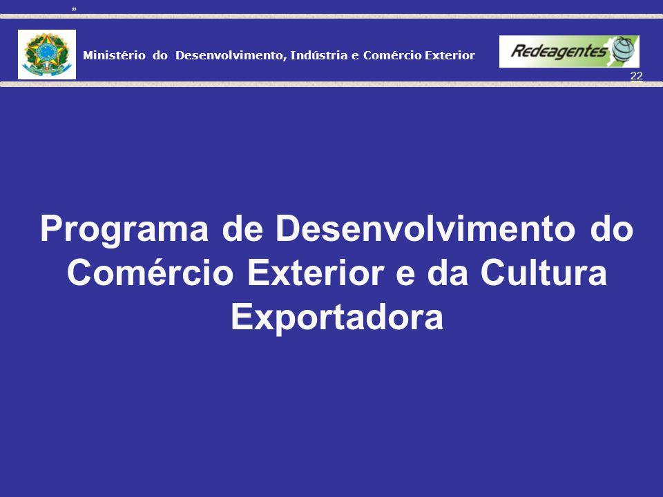 Ministério do Desenvolvimento, Indústria e Comércio Exterior 21 DEPARTAMENTO DE PLANEJAMENTO E DESENVOLVIMENTO DO COMÉRCIO EXTERIOR CGDE Coordenação G