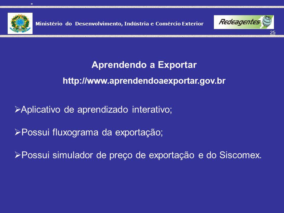 Ministério do Desenvolvimento, Indústria e Comércio Exterior 24 É parte integrante do Plano Plurianual 2008-2011; Objetiva o aumento da base exportado