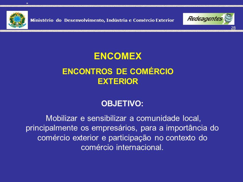 Ministério do Desenvolvimento, Indústria e Comércio Exterior 27 Aprendendo a Exportar Em desenvolvimento: Pescados; Unidades da Federação ( PE, ES, MG