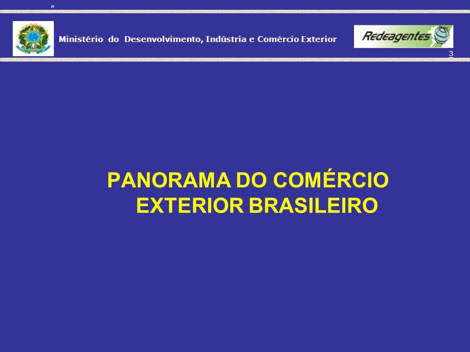 Ministério do Desenvolvimento, Indústria e Comércio Exterior 3 PANORAMA DO COMÉRCIO EXTERIOR BRASILEIRO