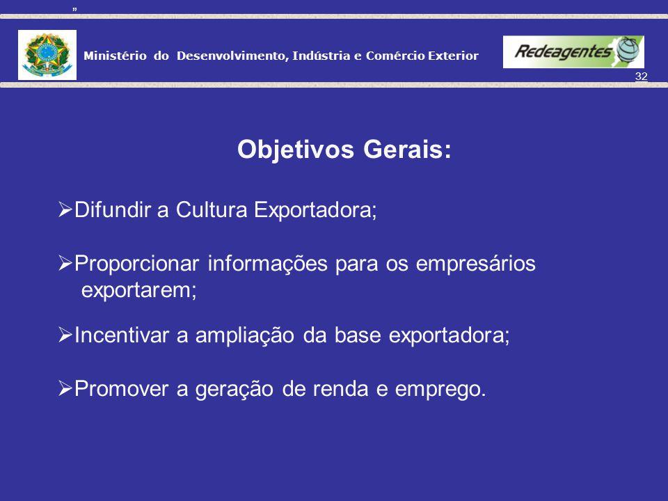 Ministério do Desenvolvimento, Indústria e Comércio Exterior 31 Definição: Comunidade de Agentes de Comércio Exterior Capacitar e assessorar o empresa