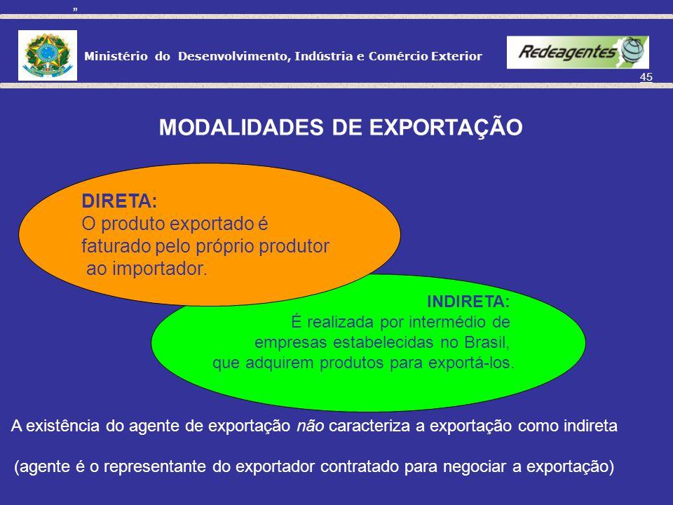 Ministério do Desenvolvimento, Indústria e Comércio Exterior 44 O que é EXPORTAÇÃO? É a saída da mercadoria do território aduaneiro.