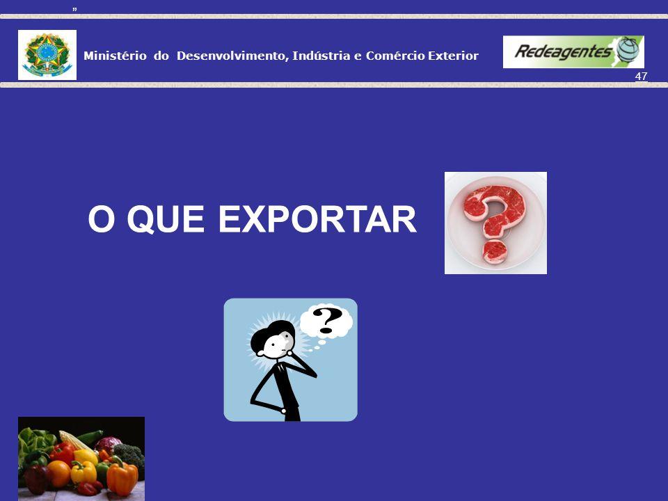 Ministério do Desenvolvimento, Indústria e Comércio Exterior 46 Quem pode exportar? Pessoa física: poderá exportar mercadorias em quantidades que não