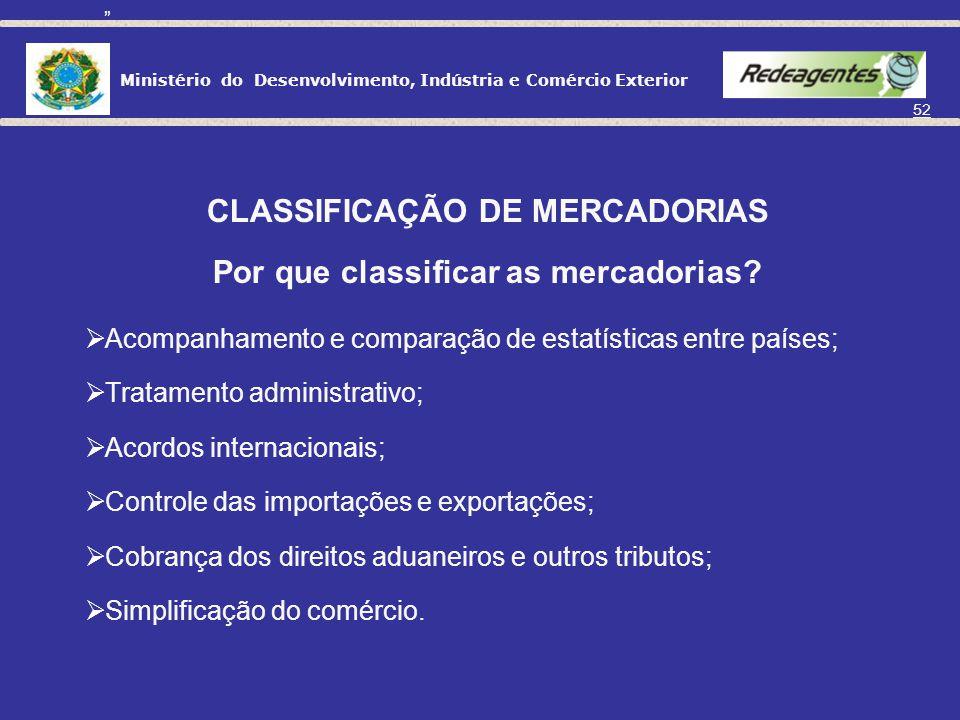 Ministério do Desenvolvimento, Indústria e Comércio Exterior 51 DEFINIÇÃO DO PRODUTO A SER EXPORTADO: CLASSIFICAÇÃO DE MERCADORIAS O que é classificaç