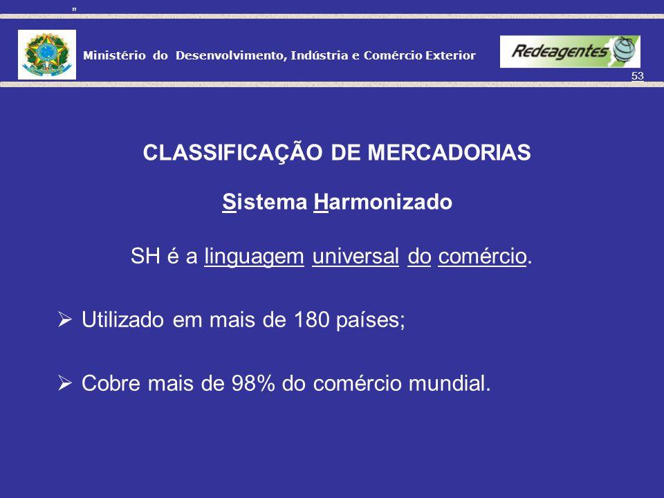 Ministério do Desenvolvimento, Indústria e Comércio Exterior 52 CLASSIFICAÇÃO DE MERCADORIAS Por que classificar as mercadorias? Acompanhamento e comp