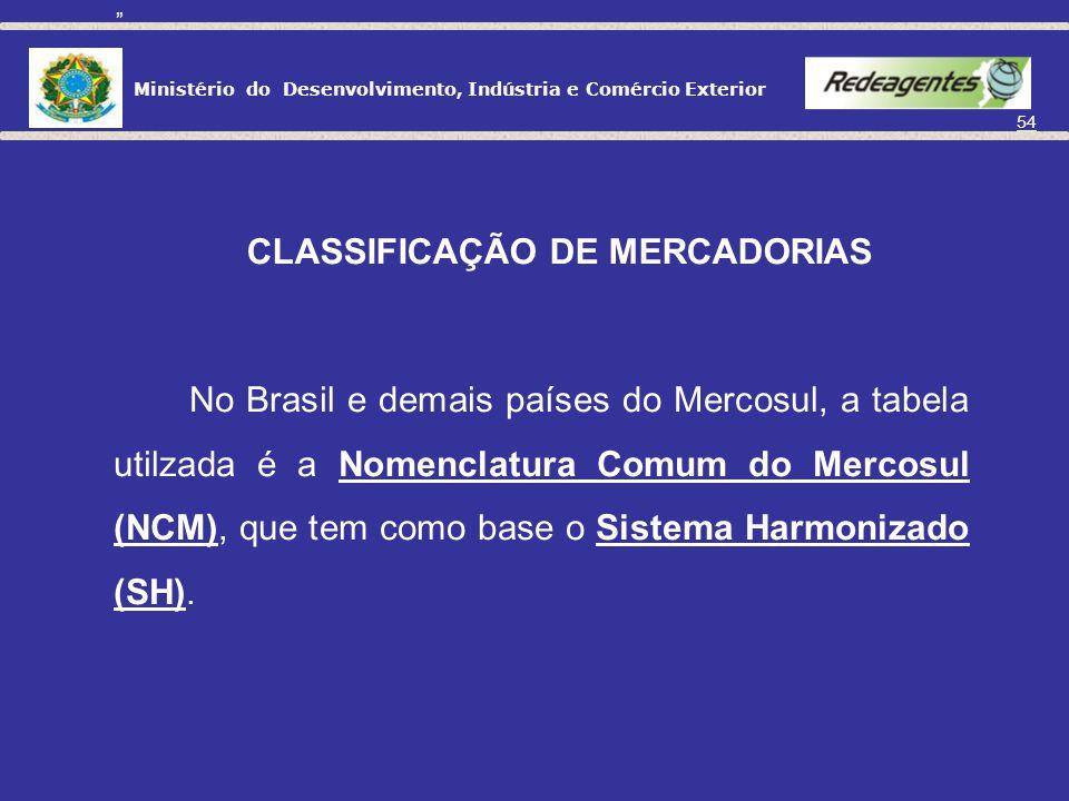 Ministério do Desenvolvimento, Indústria e Comércio Exterior 53 CLASSIFICAÇÃO DE MERCADORIAS Sistema Harmonizado SH é a linguagem universal do comérci