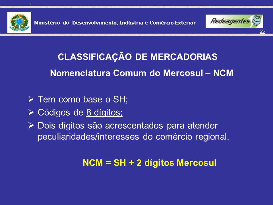 Ministério do Desenvolvimento, Indústria e Comércio Exterior 54 CLASSIFICAÇÃO DE MERCADORIAS No Brasil e demais países do Mercosul, a tabela utilzada