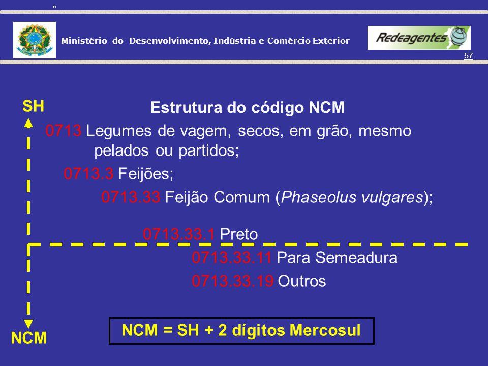 Ministério do Desenvolvimento, Indústria e Comércio Exterior 56 CLASSIFICAÇÃO DE MERCADORIAS Composição de um código SH 4407.24 a) Capítulo 44 (Madeir
