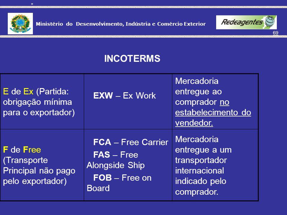 Ministério do Desenvolvimento, Indústria e Comércio Exterior 68 INCOTERMS EXW CFR FAS CIF CPT CIP FOB FCA DAF DES DEQ DDU DDP PARTIDA TRANSPORTE PRINC