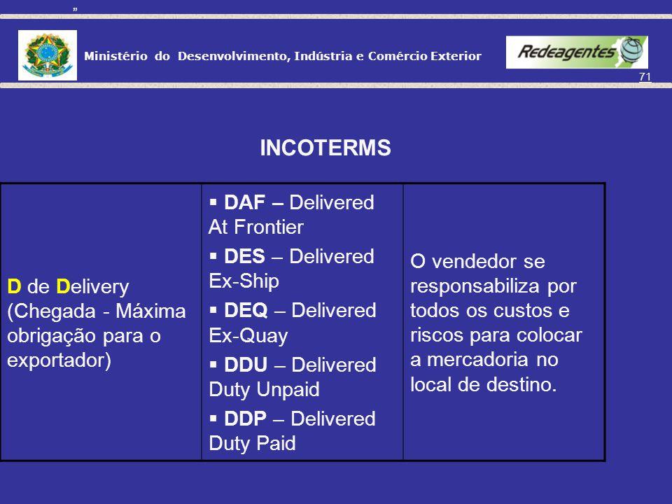 Ministério do Desenvolvimento, Indústria e Comércio Exterior 70 C de Cost ou Carriage (Transporte Principal Pago Pelo Exportador) CFR – Cost and Freig