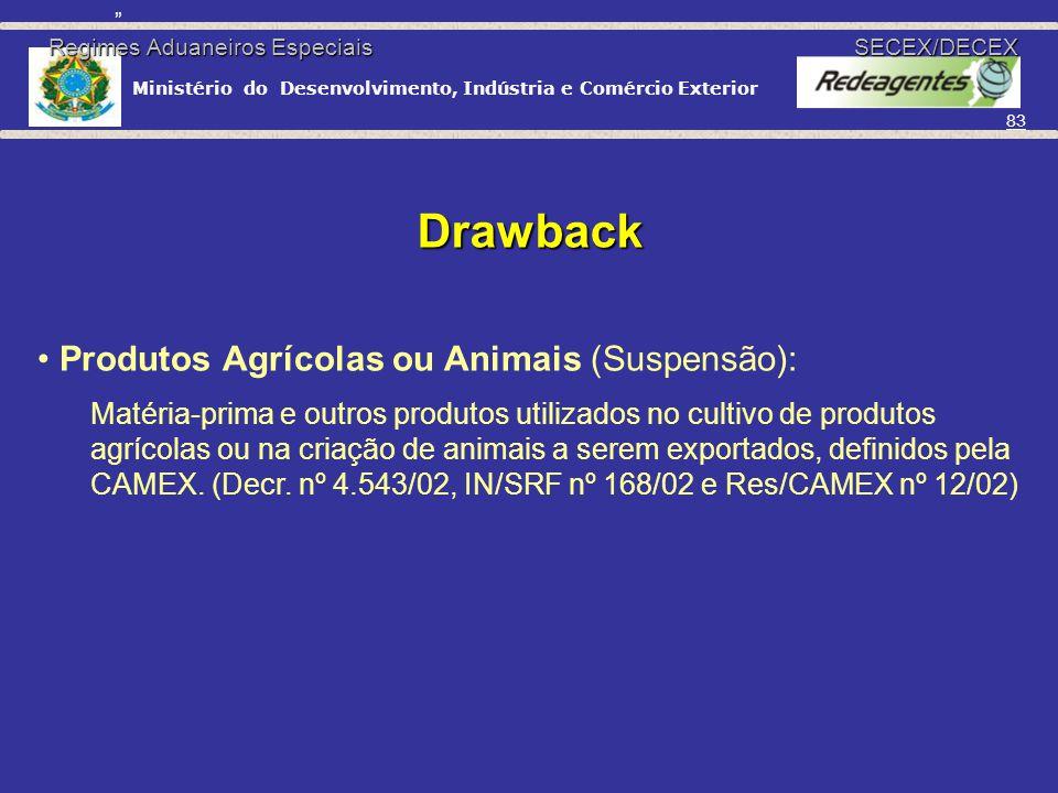 Ministério do Desenvolvimento, Indústria e Comércio Exterior 82 Drawback Suspensão: II, IPI, ICMS e AFRMM SECEX/DECEX (Exportação a realizar) Isenção: