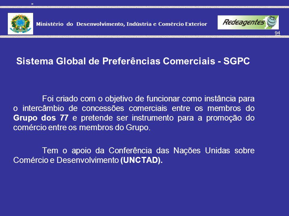 Ministério do Desenvolvimento, Indústria e Comércio Exterior 93 UNIÃO EUROPÉIA 27 países da Europa. MERCOSUL Argentina, Brasil, Paraguai e Uruguai (As