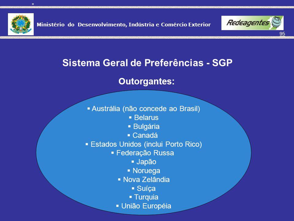 Ministério do Desenvolvimento, Indústria e Comércio Exterior 94 Sistema Global de Preferências Comerciais - SGPC Foi criado com o objetivo de funciona