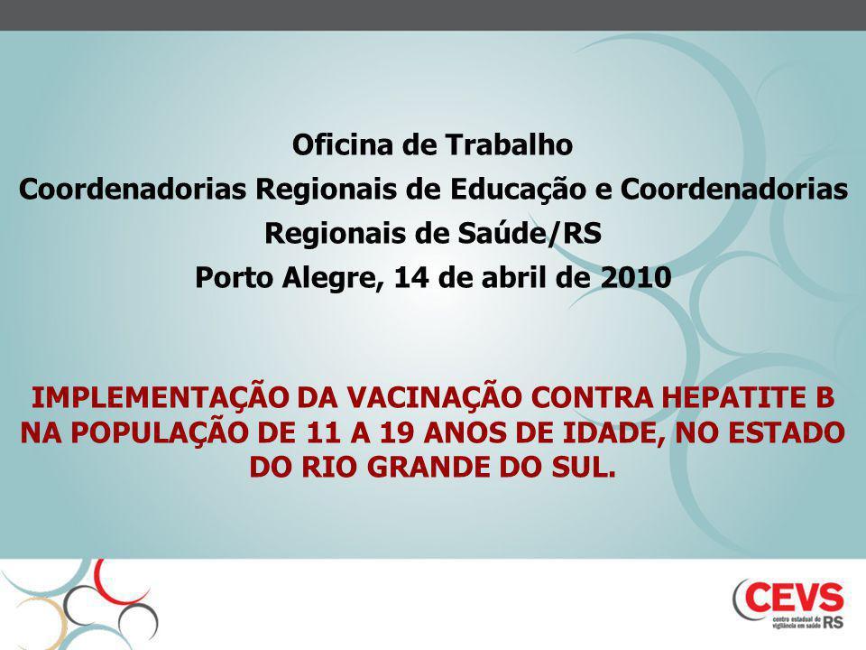Oficina de Trabalho Coordenadorias Regionais de Educação e Coordenadorias Regionais de Saúde/RS Porto Alegre, 14 de abril de 2010 IMPLEMENTAÇÃO DA VAC
