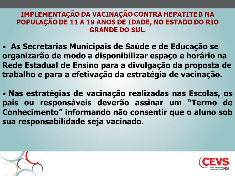 IMPLEMENTAÇÃO DA VACINAÇÃO CONTRA HEPATITE B NA POPULAÇÃO DE 11 A 19 ANOS DE IDADE, NO ESTADO DO RIO GRANDE DO SUL. As Secretarias Municipais de Saúde