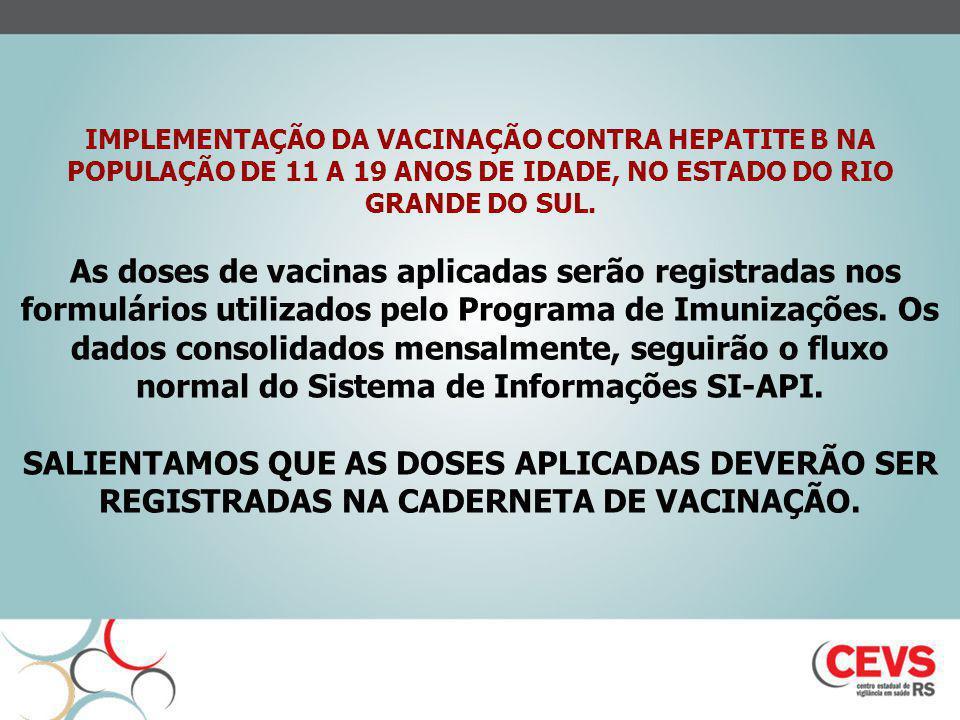 IMPLEMENTAÇÃO DA VACINAÇÃO CONTRA HEPATITE B NA POPULAÇÃO DE 11 A 19 ANOS DE IDADE, NO ESTADO DO RIO GRANDE DO SUL. As doses de vacinas aplicadas serã