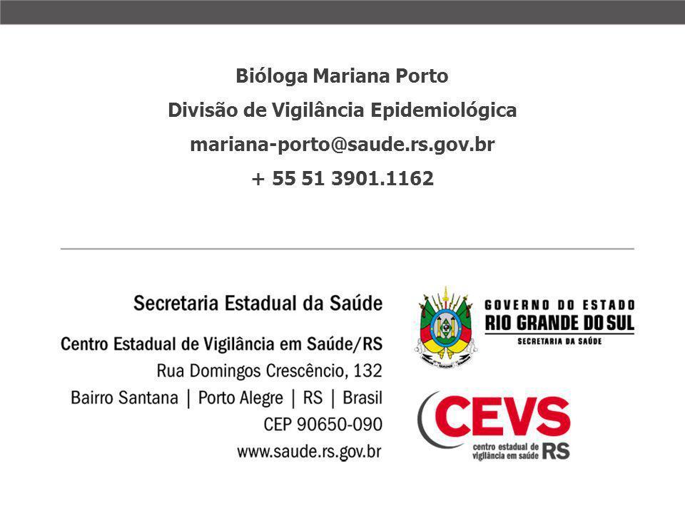 Bióloga Mariana Porto Divisão de Vigilância Epidemiológica mariana-porto@saude.rs.gov.br + 55 51 3901.1162