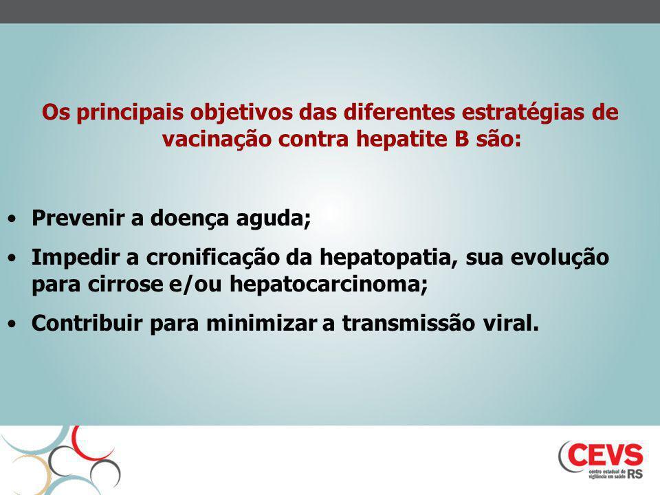 Os principais objetivos das diferentes estratégias de vacinação contra hepatite B são: Prevenir a doença aguda; Impedir a cronificação da hepatopatia,