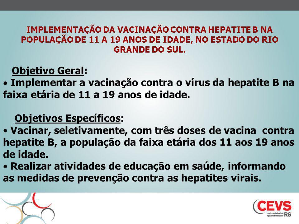 IMPLEMENTAÇÃO DA VACINAÇÃO CONTRA HEPATITE B NA POPULAÇÃO DE 11 A 19 ANOS DE IDADE, NO ESTADO DO RIO GRANDE DO SUL. Objetivo Geral: Implementar a vaci