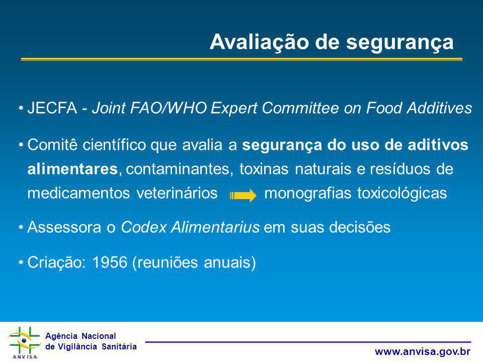 Agência Nacional de Vigilância Sanitária www.anvisa.gov.br Avaliação de segurança JECFA - Joint FAO/WHO Expert Committee on Food Additives Comitê cien