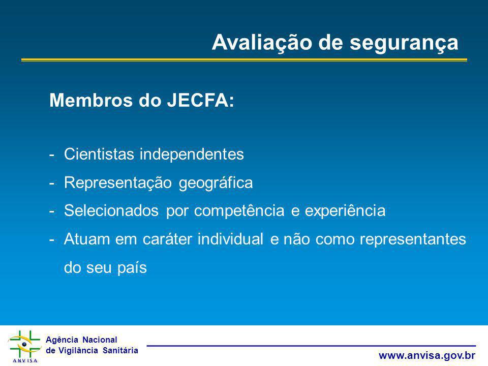 Agência Nacional de Vigilância Sanitária www.anvisa.gov.br Avaliação de segurança Membros do JECFA: -Cientistas independentes -Representação geográfic